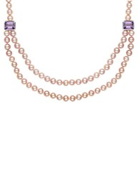 Lord And Taylor Sterling Silver Pink Freshwater Pearl Amethyst Necklace Amethyst Pearl
