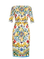Dolce And Gabbana Majolica Print Silk Blend Midi Dress White Multi