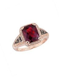 Le Vian Chocolatier Vanilla Diamond Chocolate Diamond Raspberry Rhodolite And 14K Rose Gold Ring Red