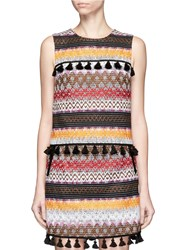 Nicholas Tassel Trim Zigzag Stripe Sleeveless Top Multi Colour