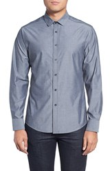 Vince Camuto Men's Trim Fit Print Sport Shirt Charcoal White Dobby