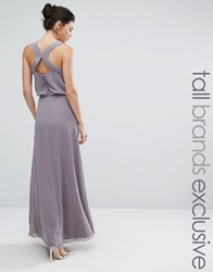 Little Mistress Tall Embellished Maxi Dress With Open Back Detail Lavender Purple