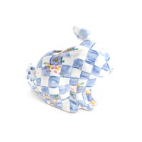 Mackenzie Childs Blue Quilted Bunny Money Box