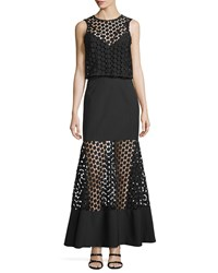 Nicholas Twofer Geometric Lace Layered Gown Black