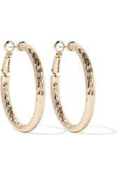 Kenneth Jay Lane Polished Gold Tone Hoop Earrings