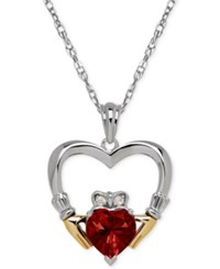 Macy's Garnet 1 5 8 Ct. T.W. And Diamond Accent Heart Pendant Necklace In Sterling Silver And 14K Gold