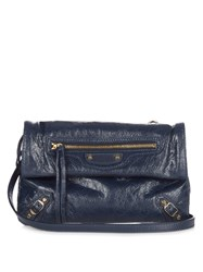 Balenciaga Classic Mini Envelope Leather Clutch Navy