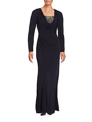 David Meister Cowlneck Long Sleeve Empire Gown Navy