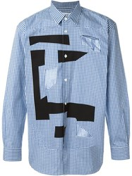 Comme Des Gara Ons Shirt Cut Out Checked Shirt Blue