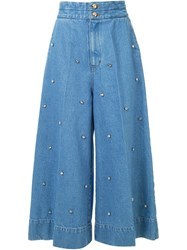 Muveil Embellished Wide Leg Jeans Blue