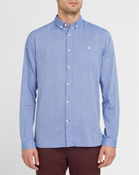 Knowledge Cotton Apparel Blue Chambray Small Dots Button Down Collar Shirt