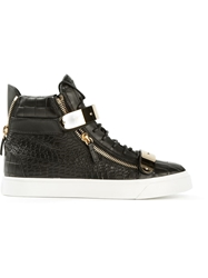 Giuseppe Zanotti Design Gold Strap Detail Hi Top Sneakers Black