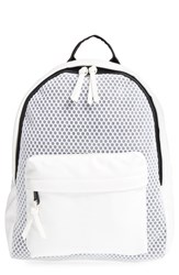 Poverty Flats By Rian 'Sport' Faux Leather And Mesh Backpack White