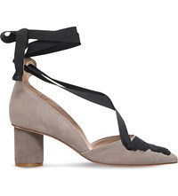 Kurt Geiger Mayfair Suede Ribbon Courts Taupe
