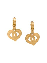 Chanel Vintage Cc Logo Heart Clip On Earrings Metallic