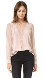Alice Olivia Robbie V Neck Sheer Lace Blouse Dusty Pink