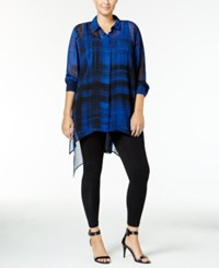 Mblm By Tess Holliday Trendy Plus Size Sheer Tunic Bright Blue