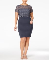 Betsy And Adam Plus Size Lace Pleated Sheath Dress Steel Grey