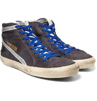 Golden Goose Distressed Suede And Metallic Leather High Top Sneakers Gray
