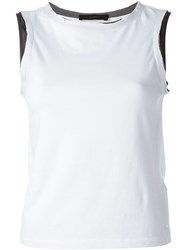 Diesel Contrast Trim And Neck Tank Top White