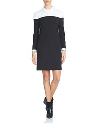 1.State Long Sleeve Colorblock Dress Rich Black White