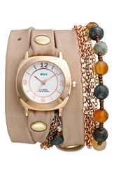 La Mer 'Brazil Beach Stones' Leather And Chain Wrap Bracelet Watch 35Mm X 33Mm Nude Rose Gold