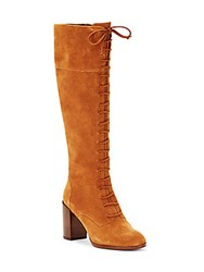Saks Fifth Avenue Leather Over The Knee Boots Rust