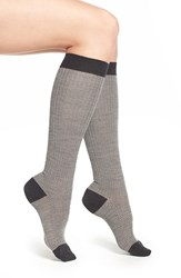 Women's Pantherella Herringbone Knee High Socks Grey Charcoal