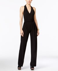 Michael Kors V Neck Halter Jumpsuit Black