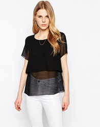 Selected Tiered Short Sleeve Shirt Black