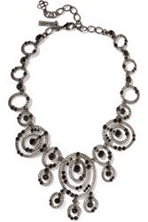 Oscar De La Renta Gunmetal Tone Crystal Necklace Black