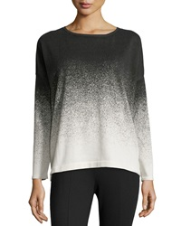 Catherine Catherine Malandrino Hariet Knit Long Sleeve Ombre Top Ivory Noir
