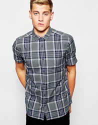 New Look Short Sleeve Shirt With Check Print Grey