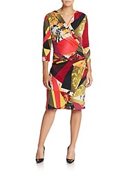 Josie Natori Mixed Print Faux Wrap Dress Multicolor