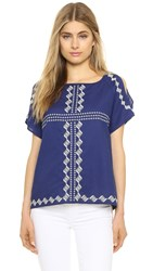 Cupcakes And Cashmere Pastoria Cold Shoulder Top Navy