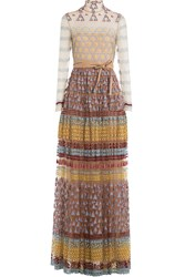 Valentino Embroidered Floor Length Gown With Belt Multicolor