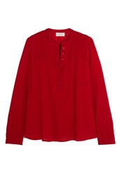 The Great Pintucked Crinkled Cotton Gauze Blouse Red