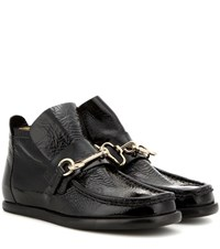 Acne Studios Kerin Embellished Patent Leather Ankle Boots Black
