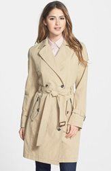 Ab Belted Waxed Cotton Trench Coat Straw