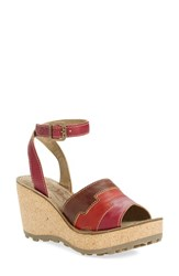 Women's Fly London 'Gody' Platform Wedge Sandal Magenta Red Leather