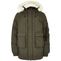 River Island Mens Khaki Faux Fur Trim Hooded Parka
