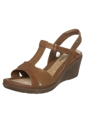 Hush Puppies Wedge Sandals Tan Leather
