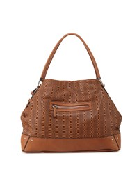 French Connection Rose Laser Cut Domed Tote Bag Nutmeg Brown