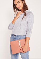 Missguided Simple Line Strap Clutch Bag Blush Pink Pink