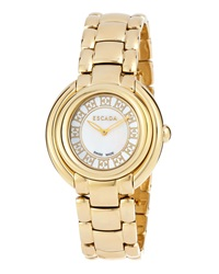 Escada Ion Gold Plated Stainless Steel Ivory Two Hand Watch