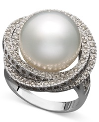Macy's 14K White Gold Ring Cultured South Sea Pearl 13Mm And Diamond 1 Ct. T.W. Ring