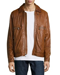 Andrew Marc New York Exeter Leather Trucker Jacket Brown