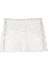 Maje Elucide Leather Trimmed Broderie Anglaise Cotton Shorts