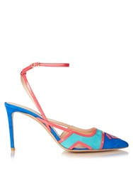 Nicholas Kirkwood Outliner Ankle Strap Suede Pumps Blue Multi
