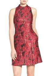 Aidan Mattox Women's By Floral Jacquard A Line Dress Red Multi